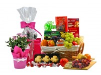 Flowers & Fruit Gift Basket