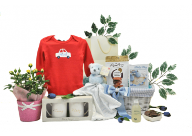 Blooming Parents and Baby Boy Basket