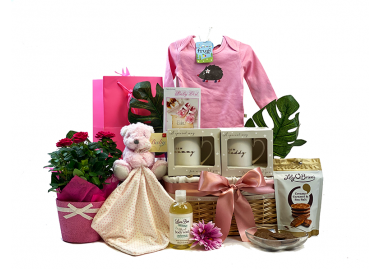 Blooming Parents and Baby Girl Gift Basket